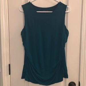 Sleeveless Teal Ruched Shell Coldwater Creek Sz L